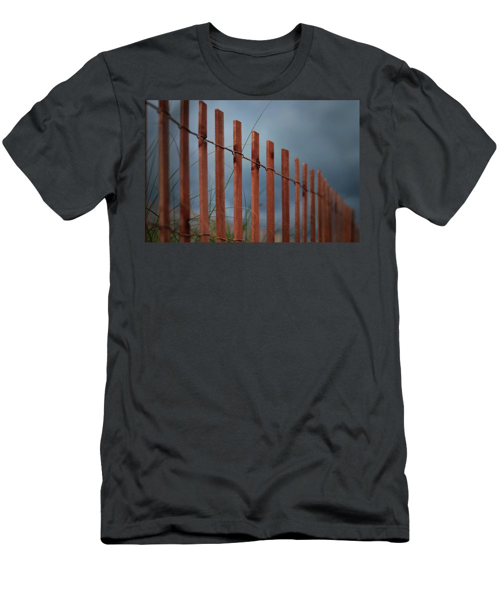 Red Beach Fence Men's T-Shirt (Athletic Fit) featuring the photograph Summer Storm Beach Fence by Laura Fasulo