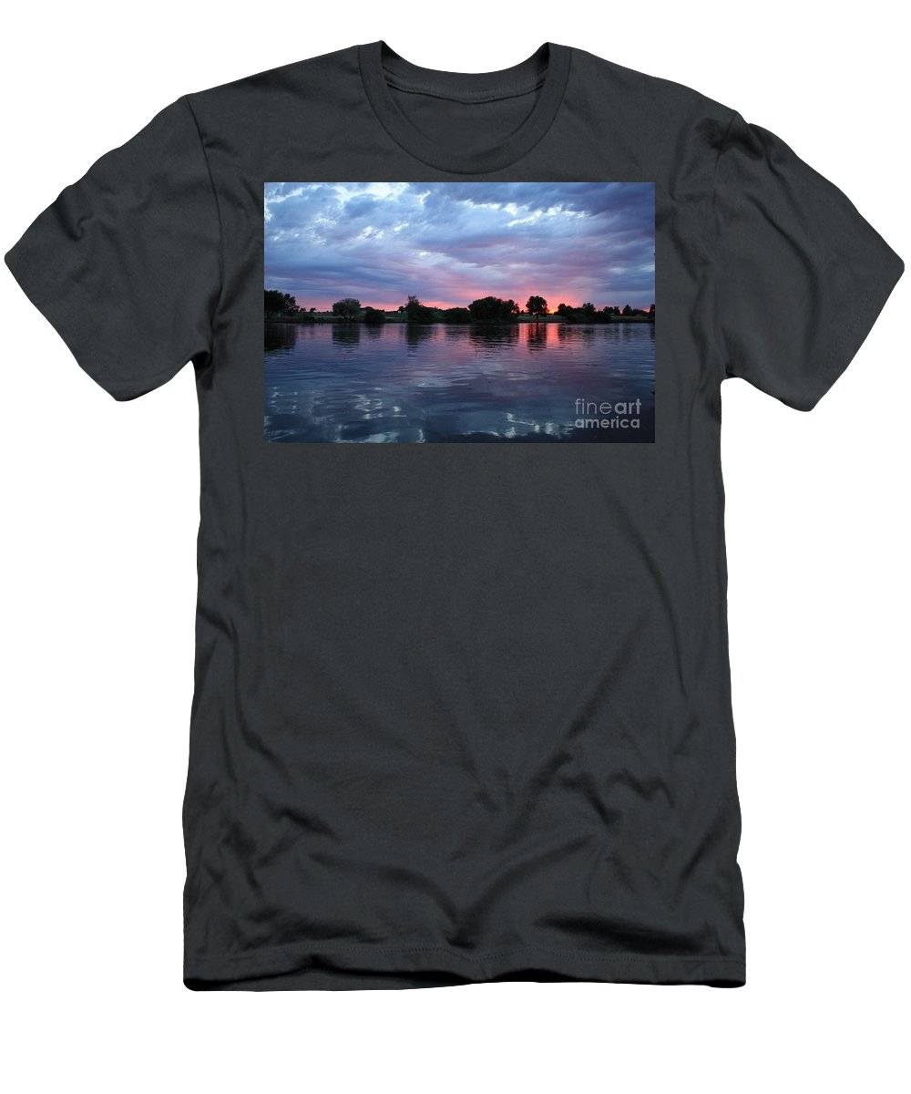 Sunset Men's T-Shirt (Athletic Fit) featuring the photograph Summer Sunset On Yakima River 4 by Carol Groenen