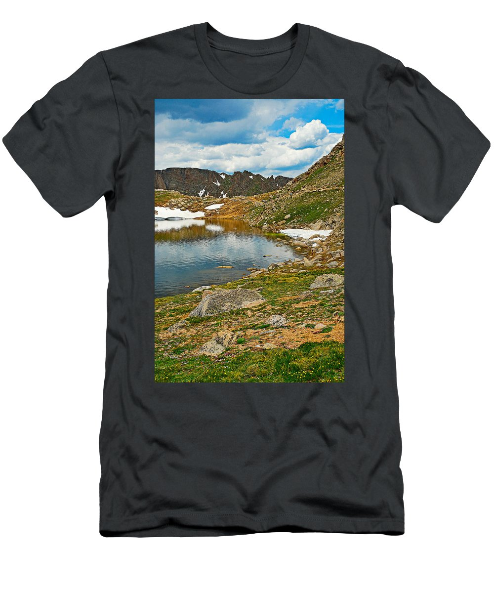 Summit Lake Men's T-Shirt (Athletic Fit) featuring the photograph Summit Lake Study 5 by Robert Meyers-Lussier