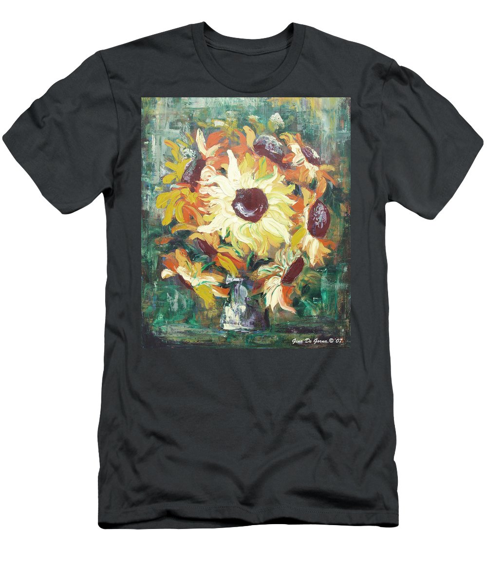 Sunflowers Men's T-Shirt (Athletic Fit) featuring the painting Sun In A Vase by Gina De Gorna
