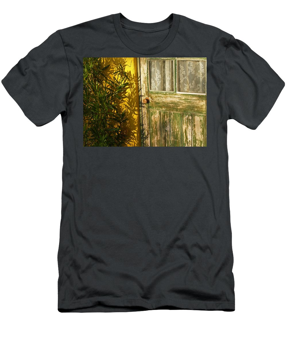 Door Men's T-Shirt (Athletic Fit) featuring the photograph Sun Warmed And Weathered by Bel Menpes