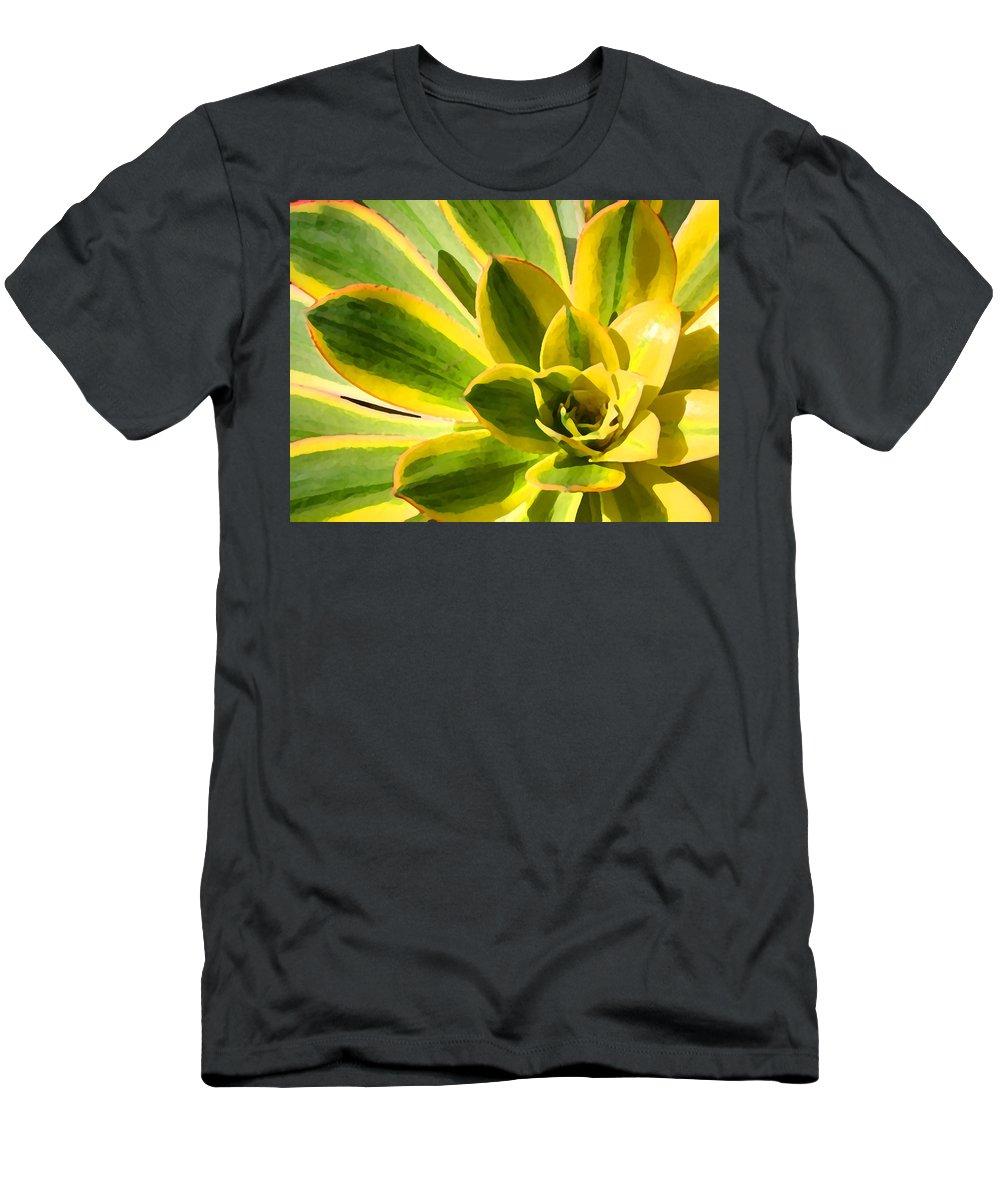 Landscape Men's T-Shirt (Athletic Fit) featuring the photograph Sunburst Succulent Close-up 2 by Amy Vangsgard