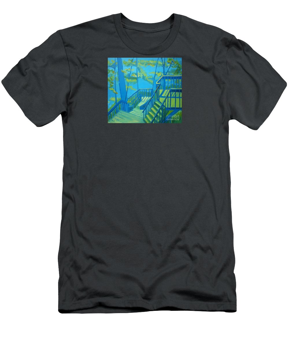 New Hampshire T-Shirt featuring the painting Suncook Stairwell by Debra Bretton Robinson