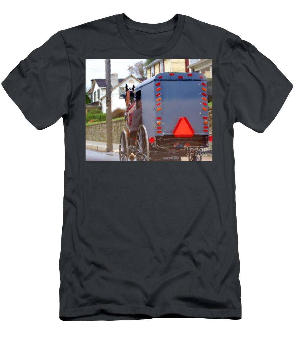 Amish Men's T-Shirt (Athletic Fit) featuring the photograph Sunday Courting by Debbi Granruth
