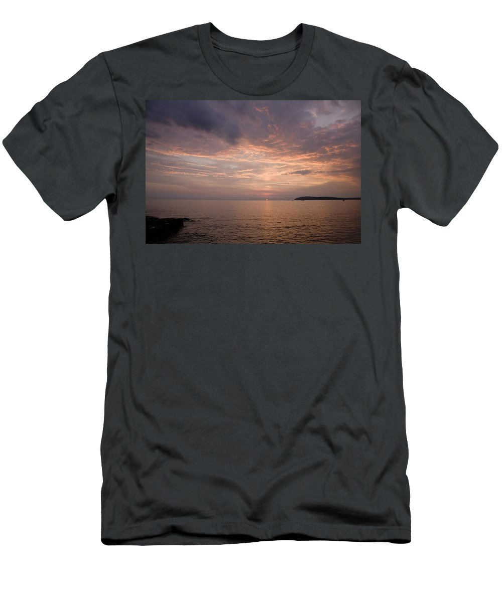 Sea Men's T-Shirt (Athletic Fit) featuring the photograph Sundown Over The Adriatic Coastline by Ian Middleton