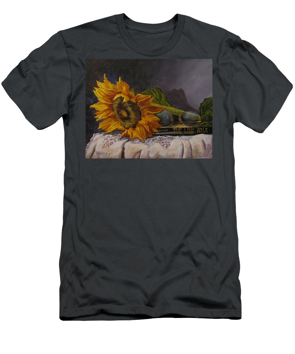 Judy Bradley T-Shirt featuring the painting Sunflower And Book by Judy Bradley
