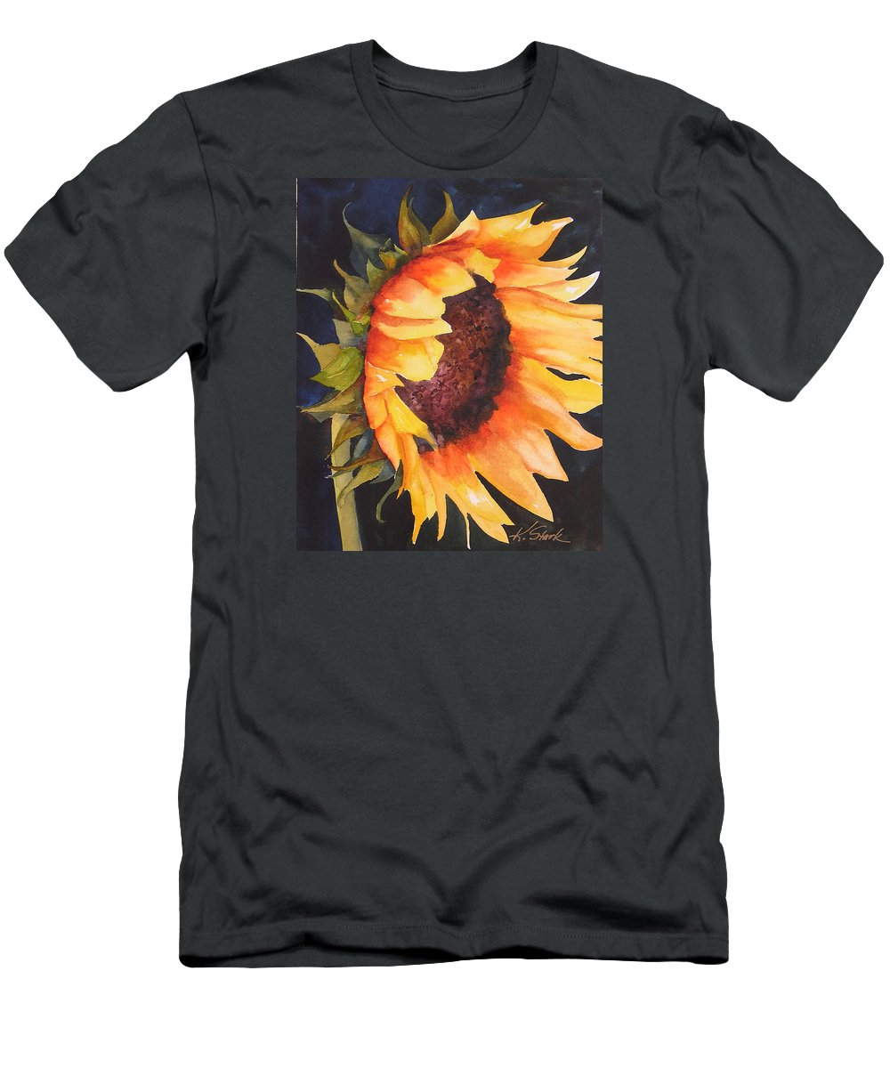 Floral Men's T-Shirt (Athletic Fit) featuring the painting Sunflower by Karen Stark