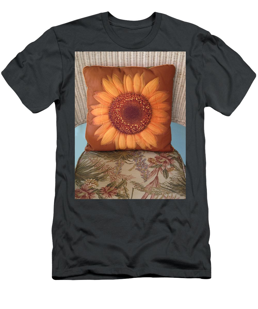 Pillow Men's T-Shirt (Athletic Fit) featuring the photograph Sunflower Pillow by Dave Mills