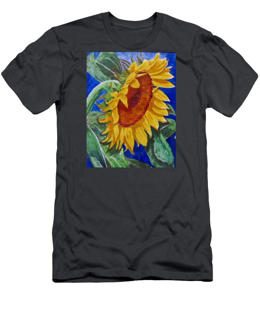 Sunflower Men's T-Shirt (Athletic Fit) featuring the painting Sunflower by Richard Le Page