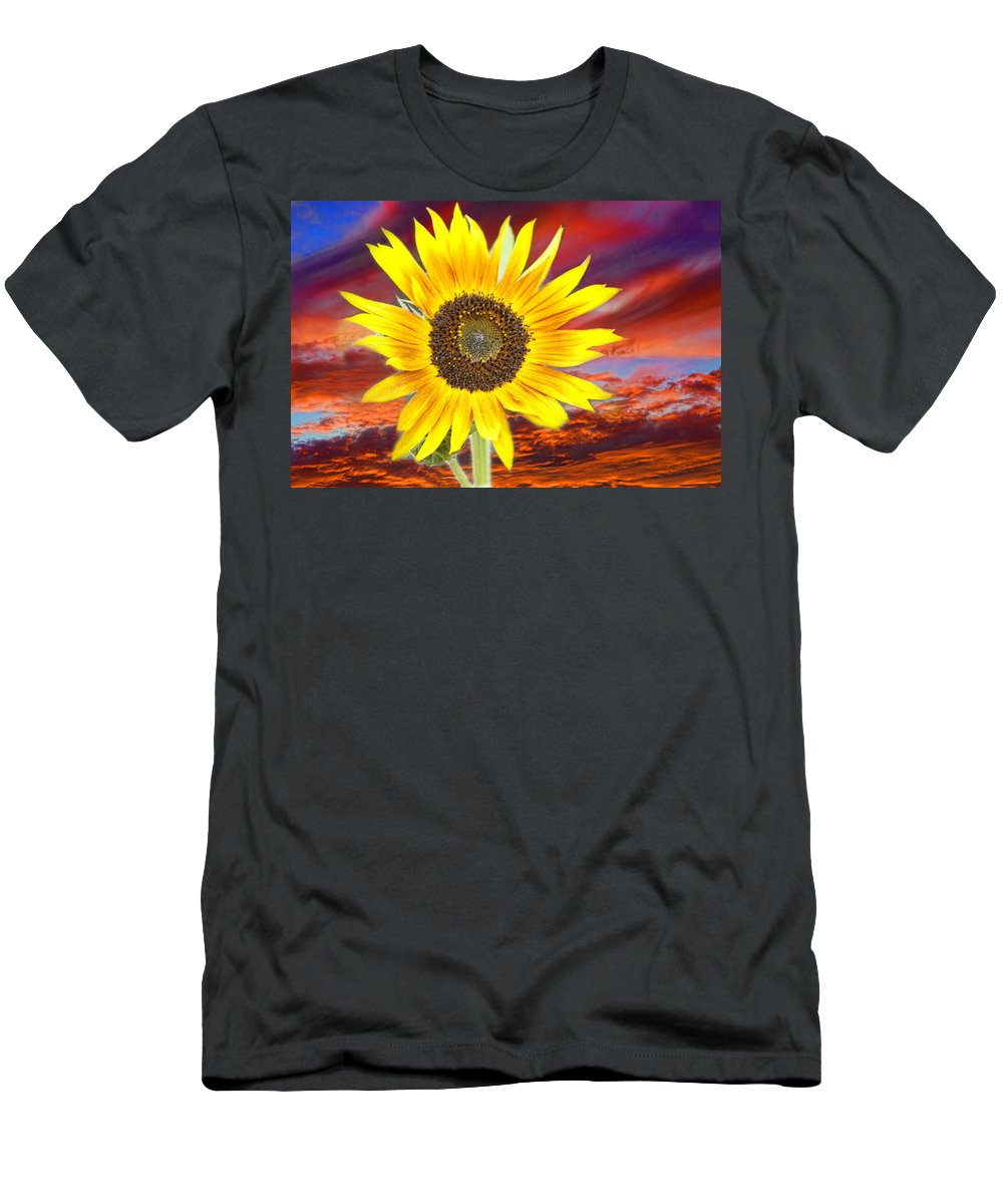 Sunflowers Men's T-Shirt (Athletic Fit) featuring the photograph Sunflower Sunset by James BO Insogna