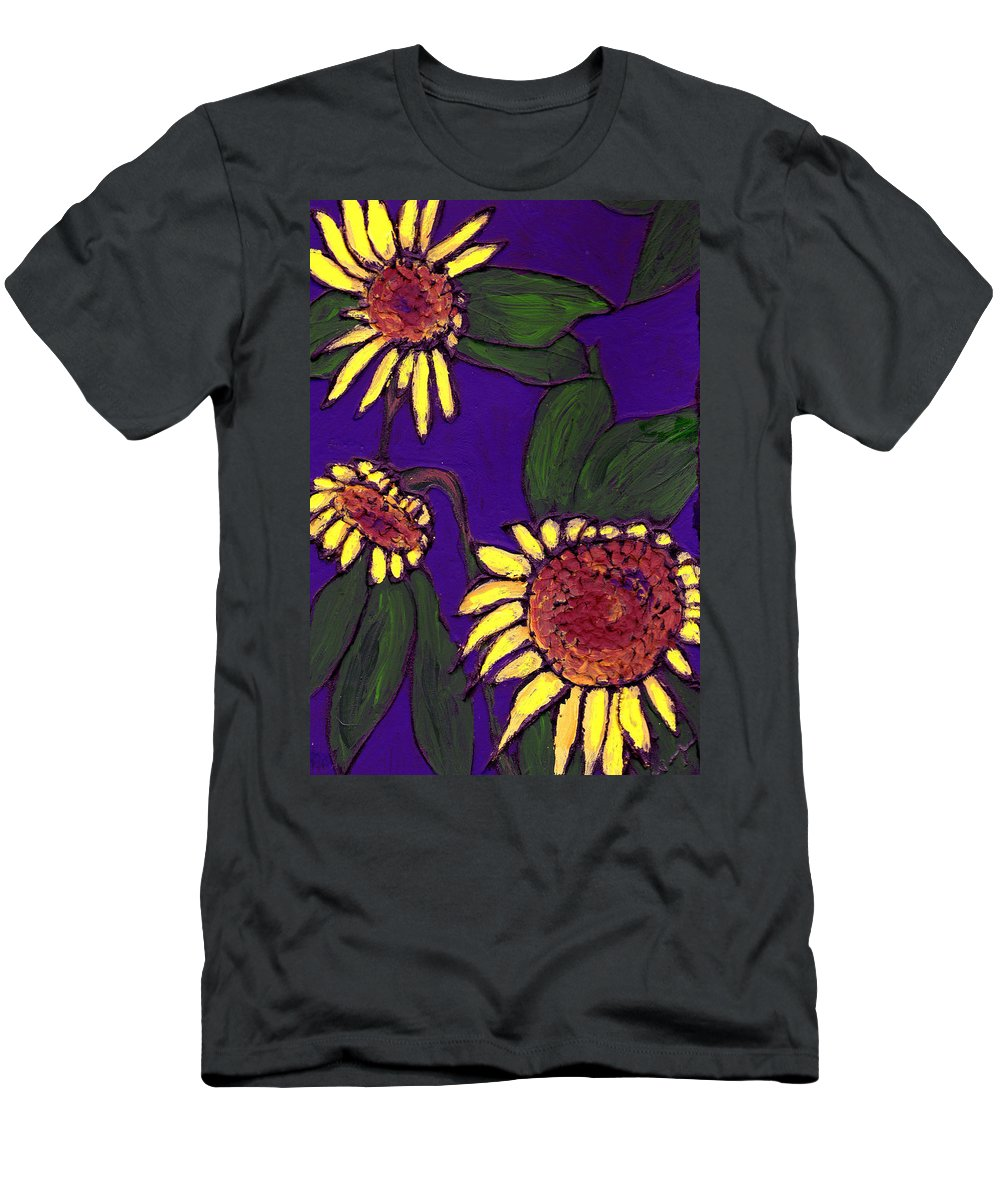 Sunflowers Men's T-Shirt (Athletic Fit) featuring the painting Sunflowers On Purple by Wayne Potrafka