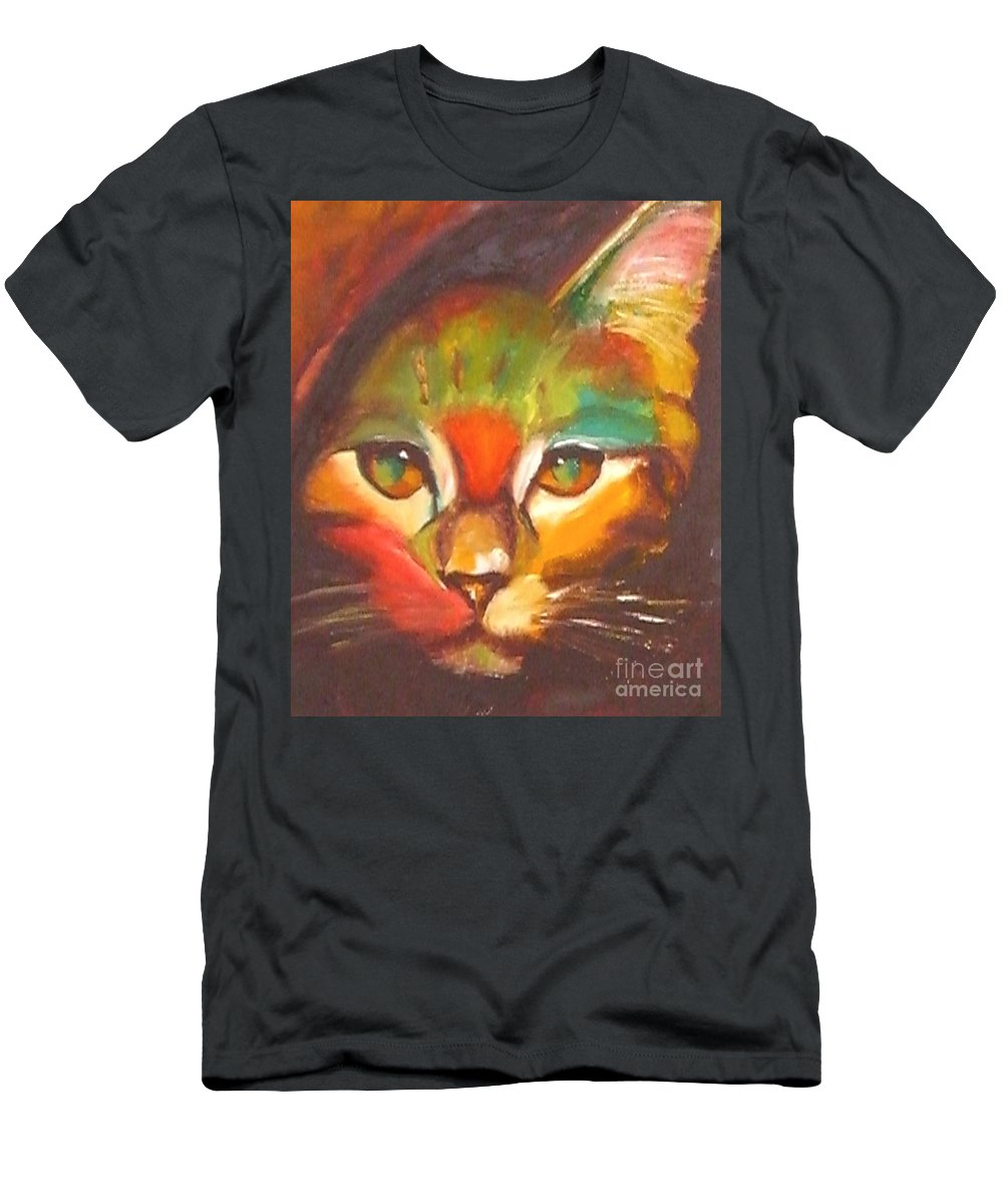 Cat Men's T-Shirt (Athletic Fit) featuring the painting Sunkist by Susan A Becker