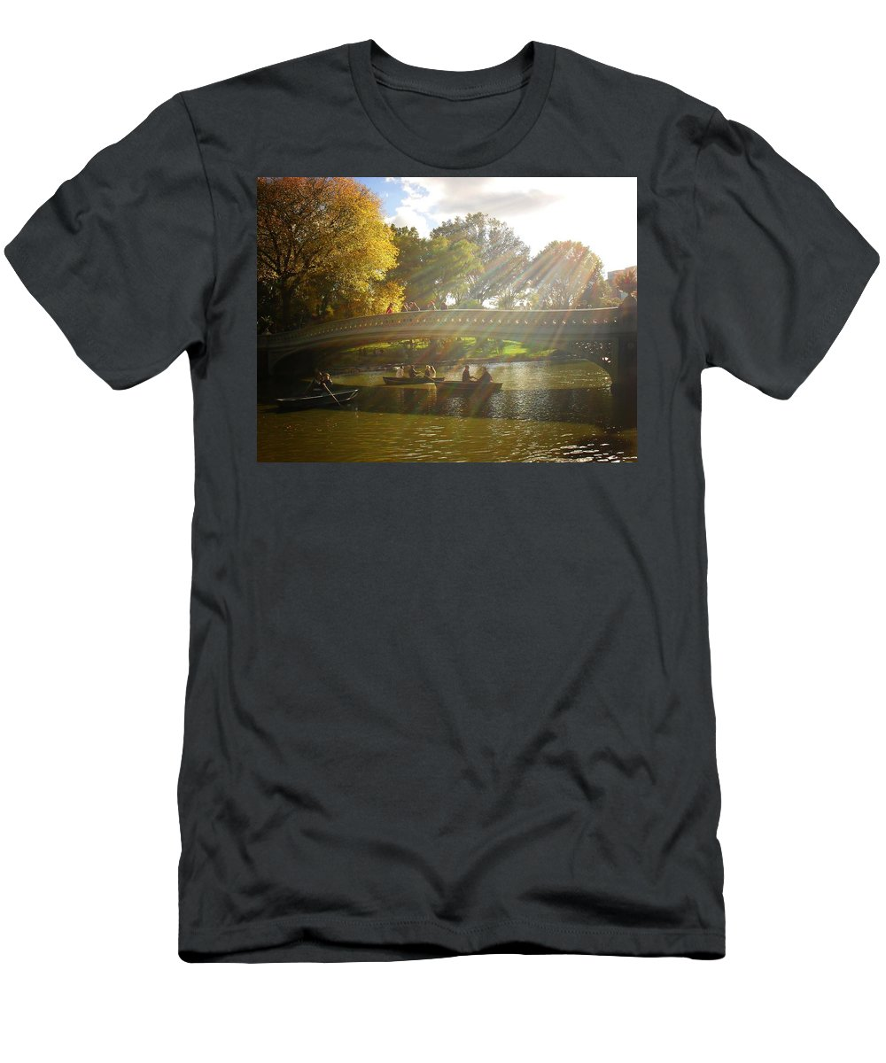 Central Park Men's T-Shirt (Athletic Fit) featuring the photograph Sunlight And Boats - Central Park - New York City by Vivienne Gucwa