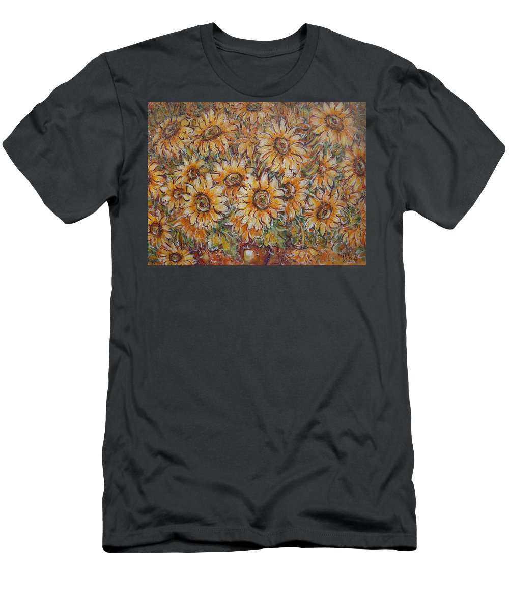 Flowers Men's T-Shirt (Athletic Fit) featuring the painting Sunlight Bouquet. by Natalie Holland