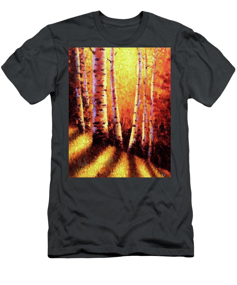 Sunlight T-Shirt featuring the painting Sunlight Through The Aspens by David G Paul