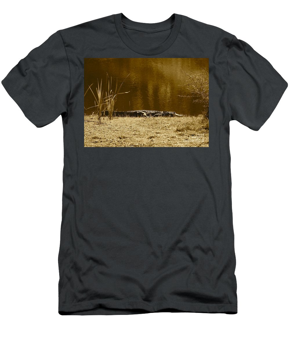 Gator Men's T-Shirt (Athletic Fit) featuring the photograph Sunning Gator by Carol Groenen