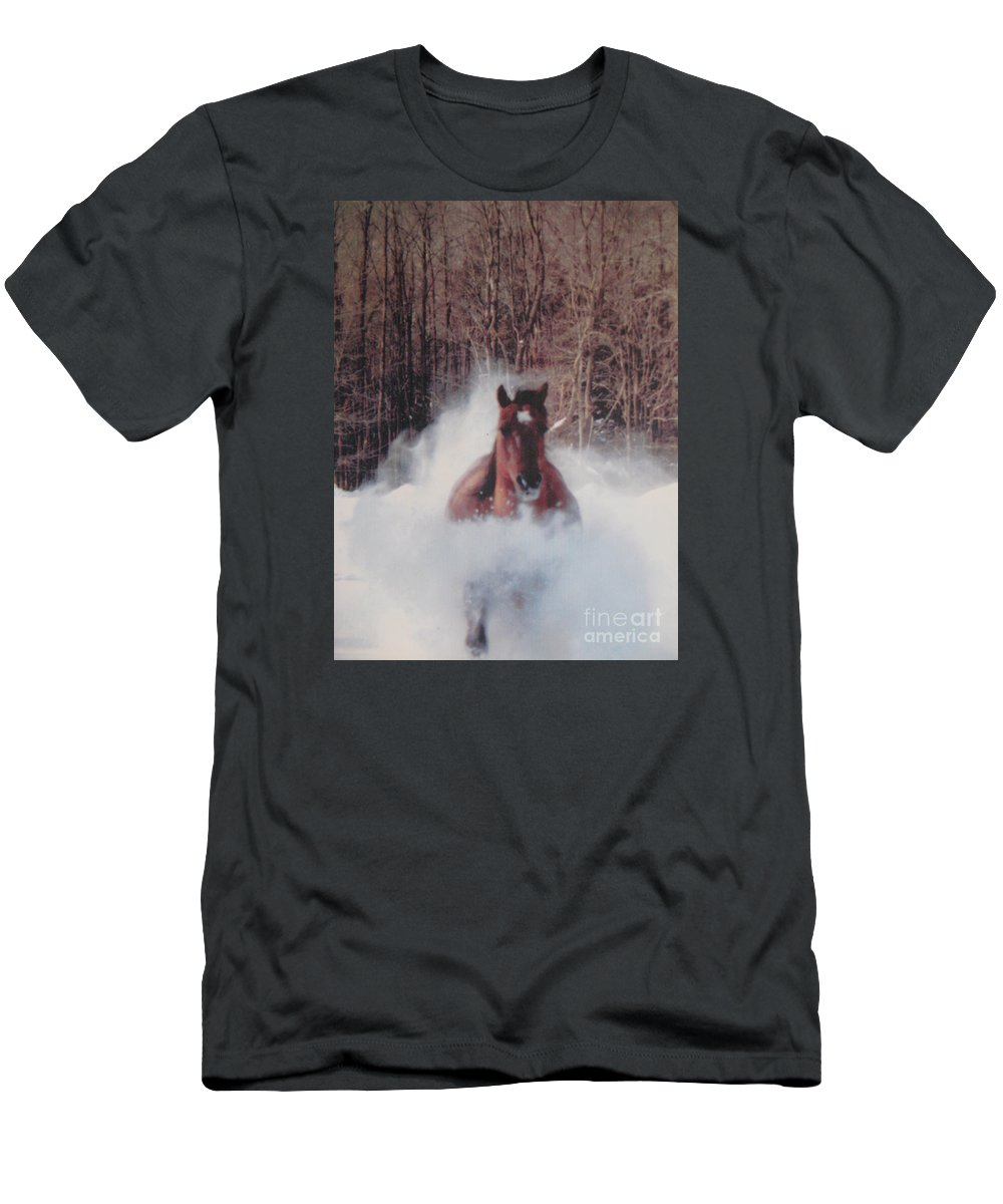 Horse Running Men's T-Shirt (Athletic Fit) featuring the photograph Sunny Running For The Barn. by Jeffrey Koss