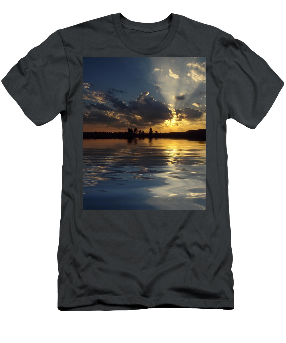 Sunset Men's T-Shirt (Athletic Fit) featuring the photograph Sunray Sunset by Jerry McElroy