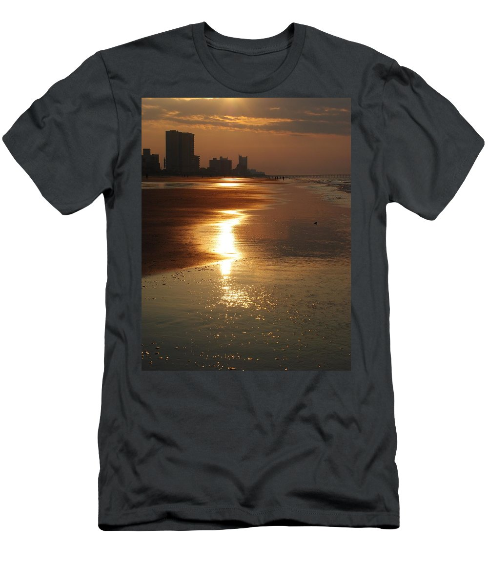 Beach Men's T-Shirt (Athletic Fit) featuring the photograph Sunrise At The Beach by Eric Liller