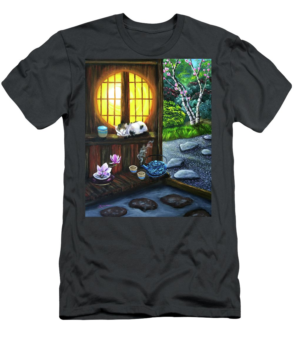 Zen Men's T-Shirt (Athletic Fit) featuring the painting Sunrise In Moon Window by Laura Iverson