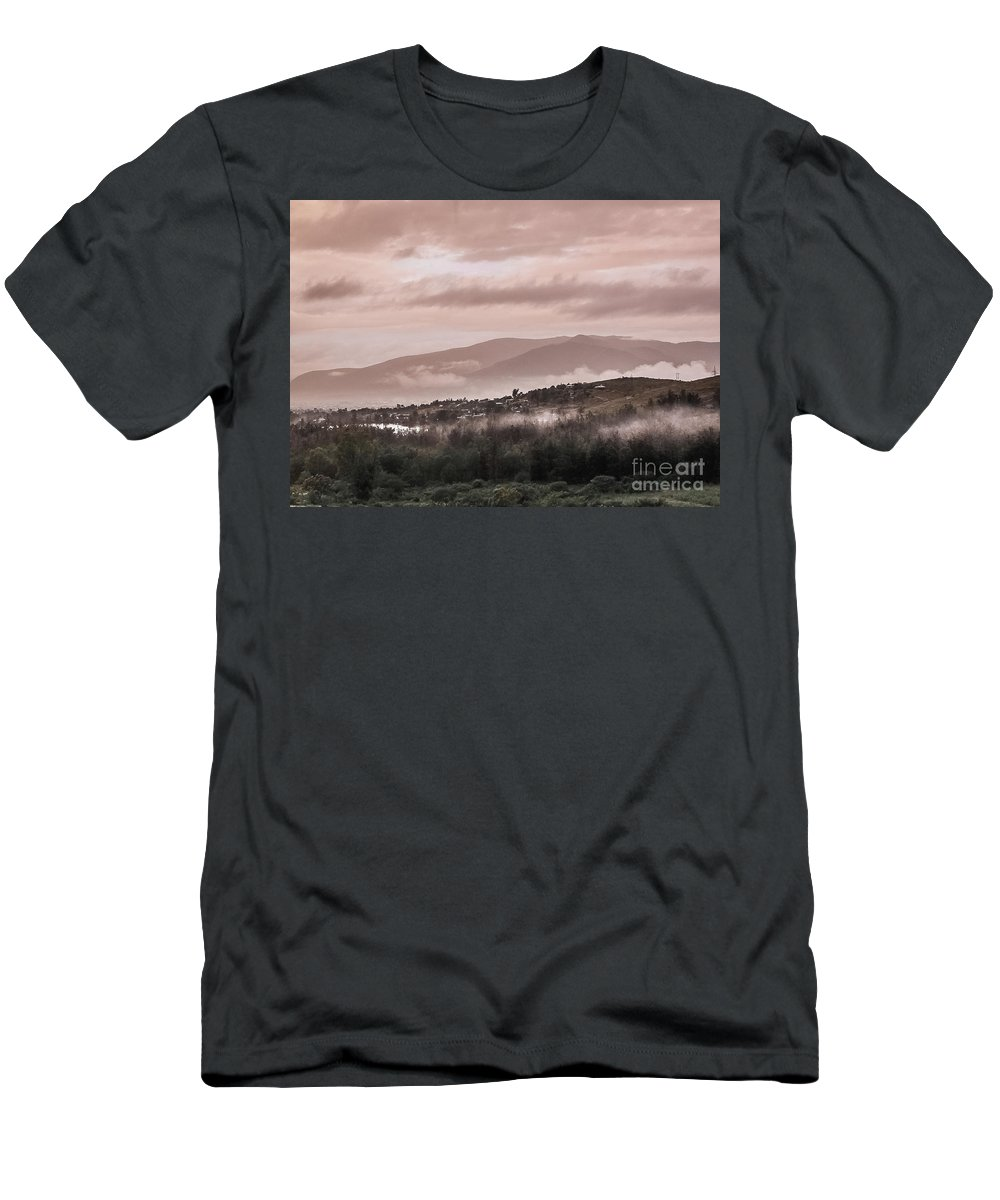 Tlacolula Men's T-Shirt (Athletic Fit) featuring the photograph Sunrise Pink Over Tlacolula Valley by IK Hadinger