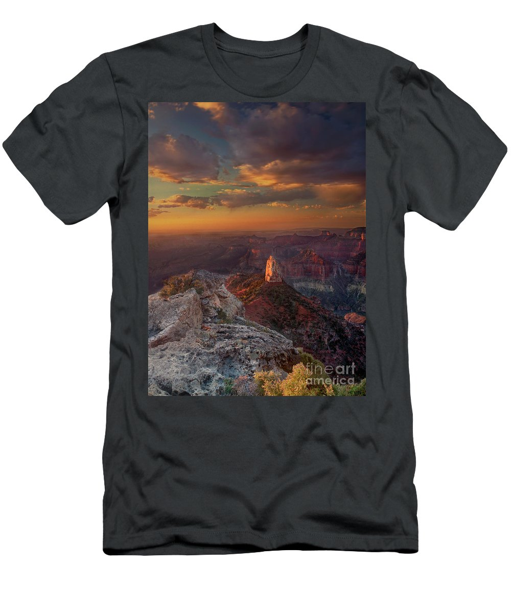 North America Landscape Men's T-Shirt (Athletic Fit) featuring the photograph Sunrise Point Imperial North Rim Grand Canyon National Park Arizona by Dave Welling
