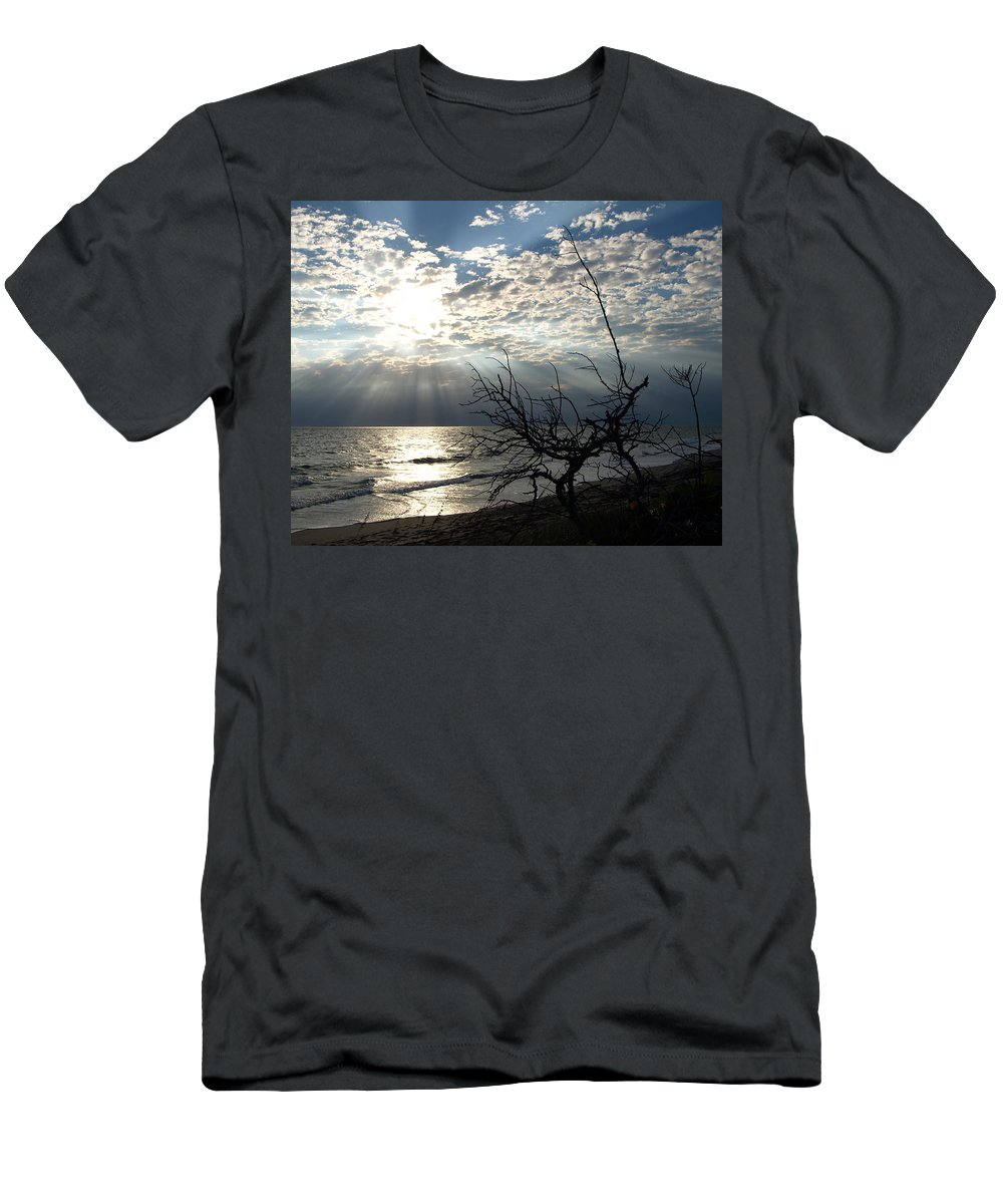 Morning; Sun; Rise; Sunrise; Sunset; Space; Coast; Melbourne; Beach; Florida; Shore; Rays; Fog; Mist Men's T-Shirt (Athletic Fit) featuring the photograph Sunrise Prayer On The Beach by Allan Hughes