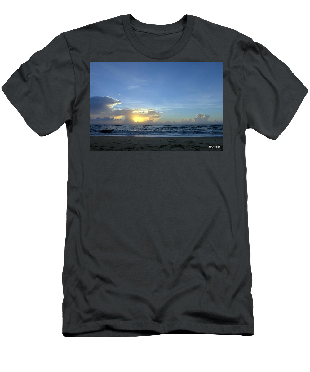 Sunrise Outer Banks Men's T-Shirt (Athletic Fit) featuring the photograph Sunrise Sept 2016 Obx Avon by Mark Holden
