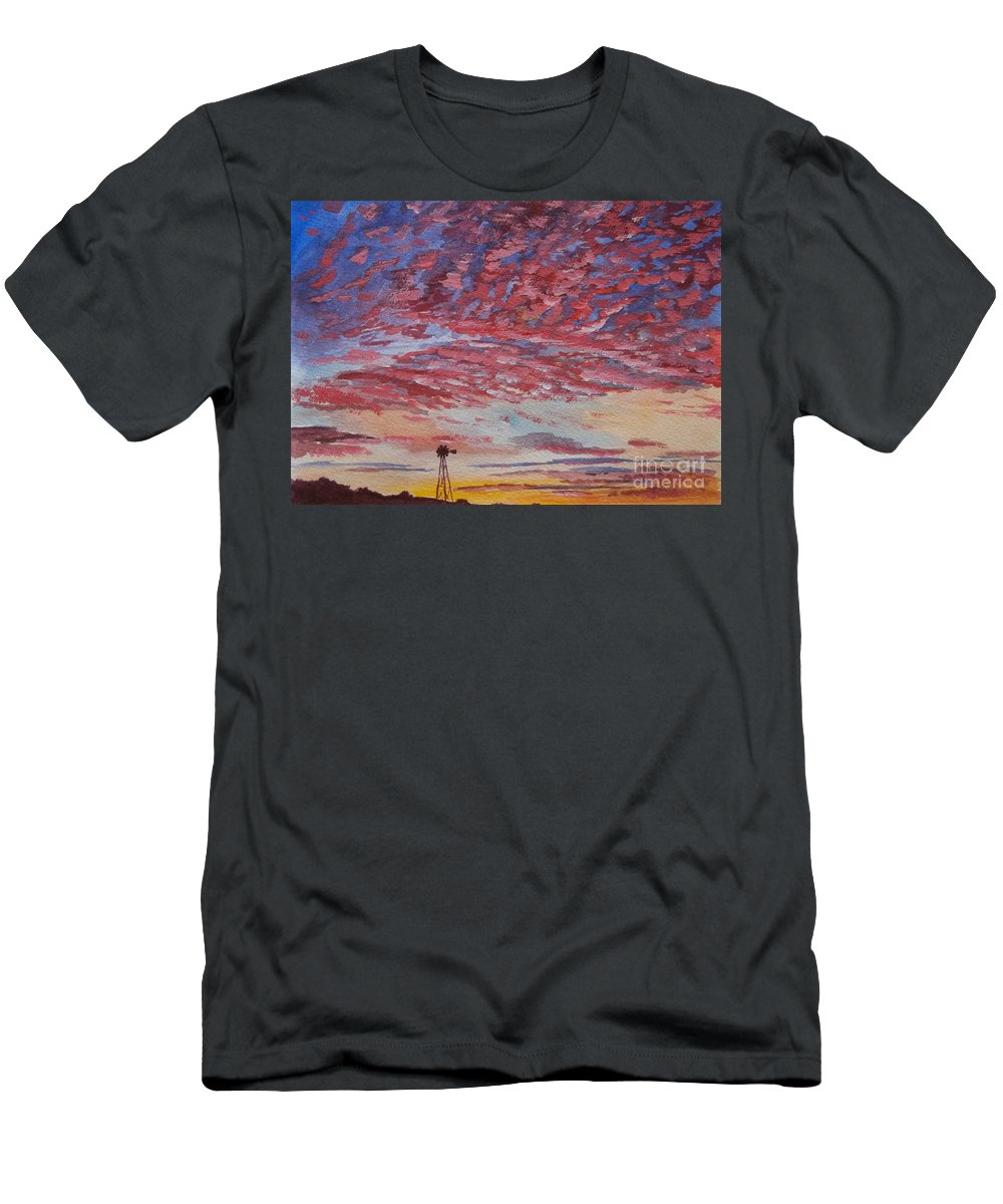 Landscape Men's T-Shirt (Athletic Fit) featuring the painting Sunrise / Sunset by Don Hand