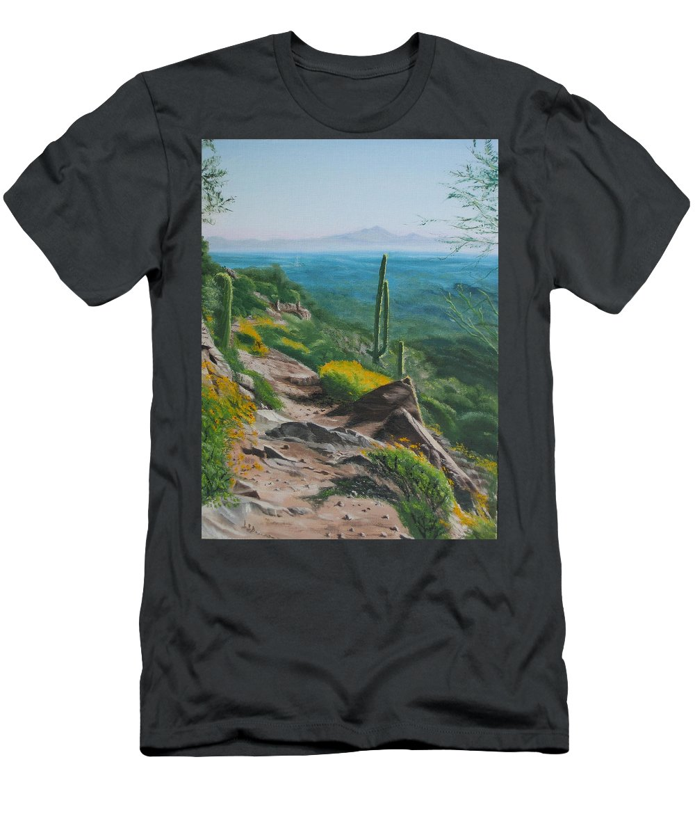 Landscape Men's T-Shirt (Athletic Fit) featuring the painting Sunrise Trail by Lea Novak