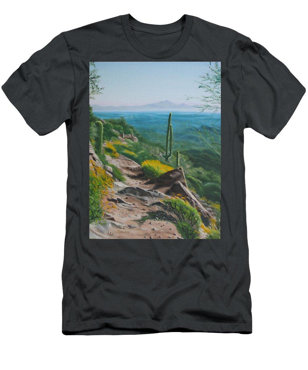 Landscape Men's T-Shirt (Athletic Fit) featuring the painting Sunrise Trail by Lea Novak