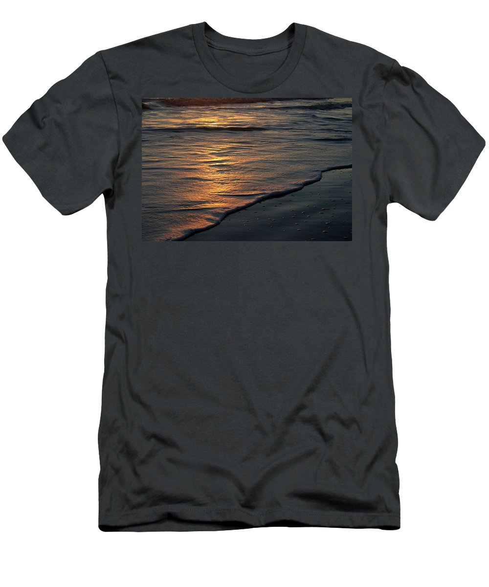 Ocean Beach Sun Sunrise Reflection Wave Tide Bright Orange Gold Water Vacation Men's T-Shirt (Athletic Fit) featuring the photograph Sunrise Waves by Andrei Shliakhau
