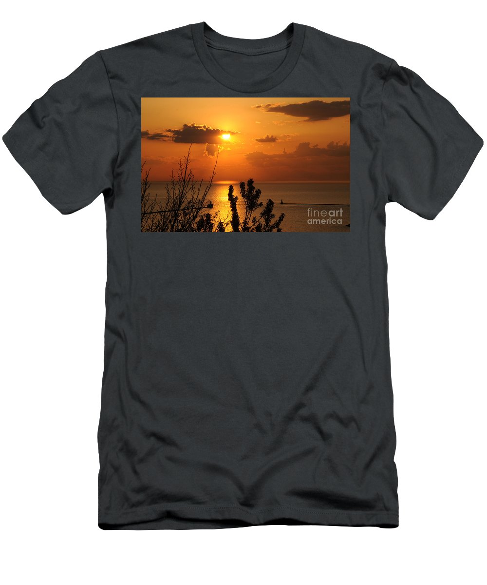 Sunset Men's T-Shirt (Athletic Fit) featuring the photograph Sunset At Lake Huron by Joe Ng