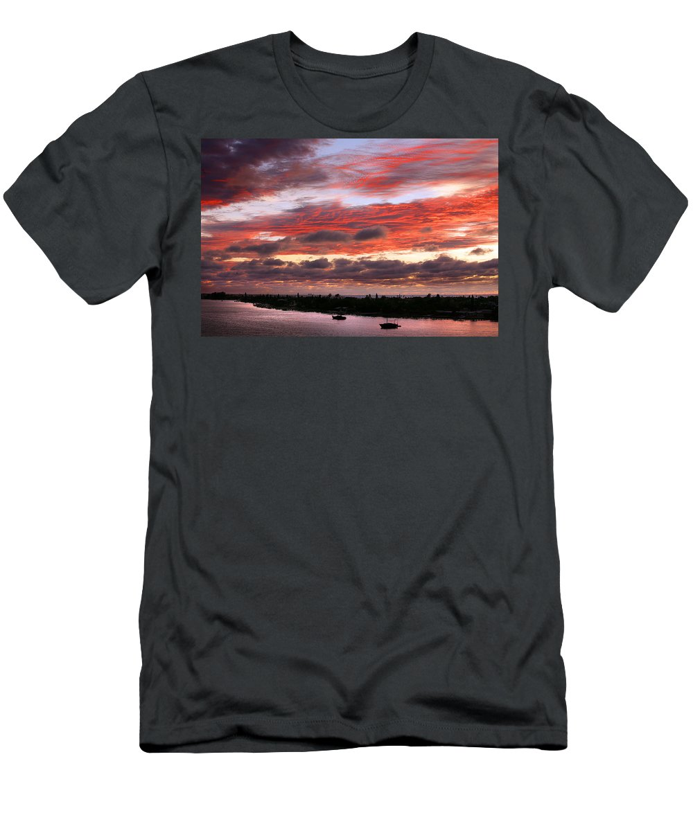 Sun Men's T-Shirt (Athletic Fit) featuring the photograph Sunset At Pass A Grille Florida by Mal Bray