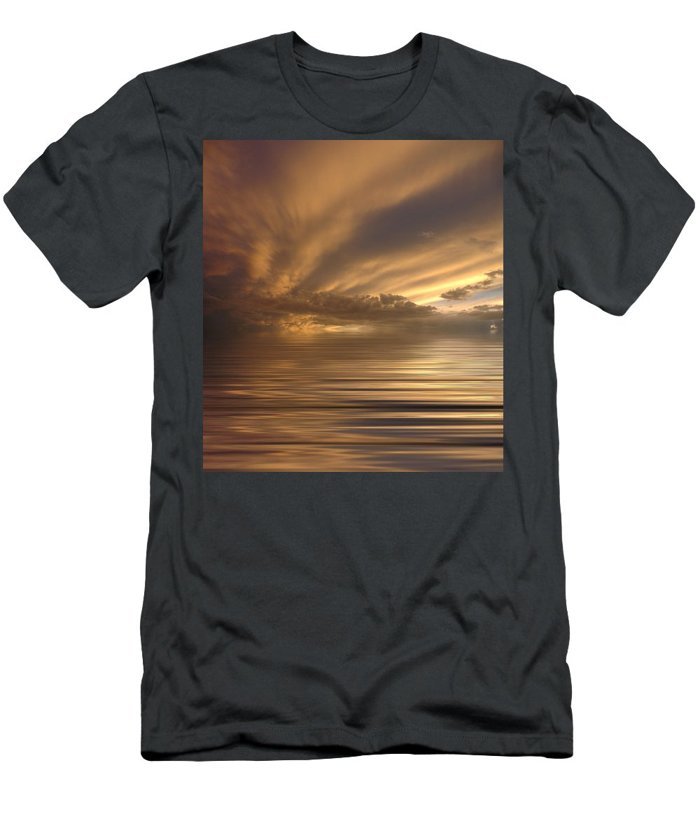 Sunset Men's T-Shirt (Athletic Fit) featuring the photograph Sunset At Sea by Jerry McElroy