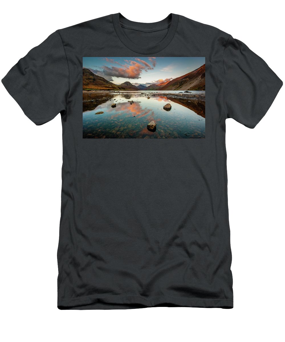 Sunrise T-Shirt featuring the photograph Sunset at Wast Water #1, Wasdale, Lake District, England by Anthony Lawlor