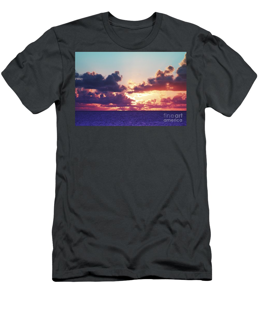 Beautiful Men's T-Shirt (Athletic Fit) featuring the photograph Sunset Behind Clouds by Vince Cavataio - Printscapes