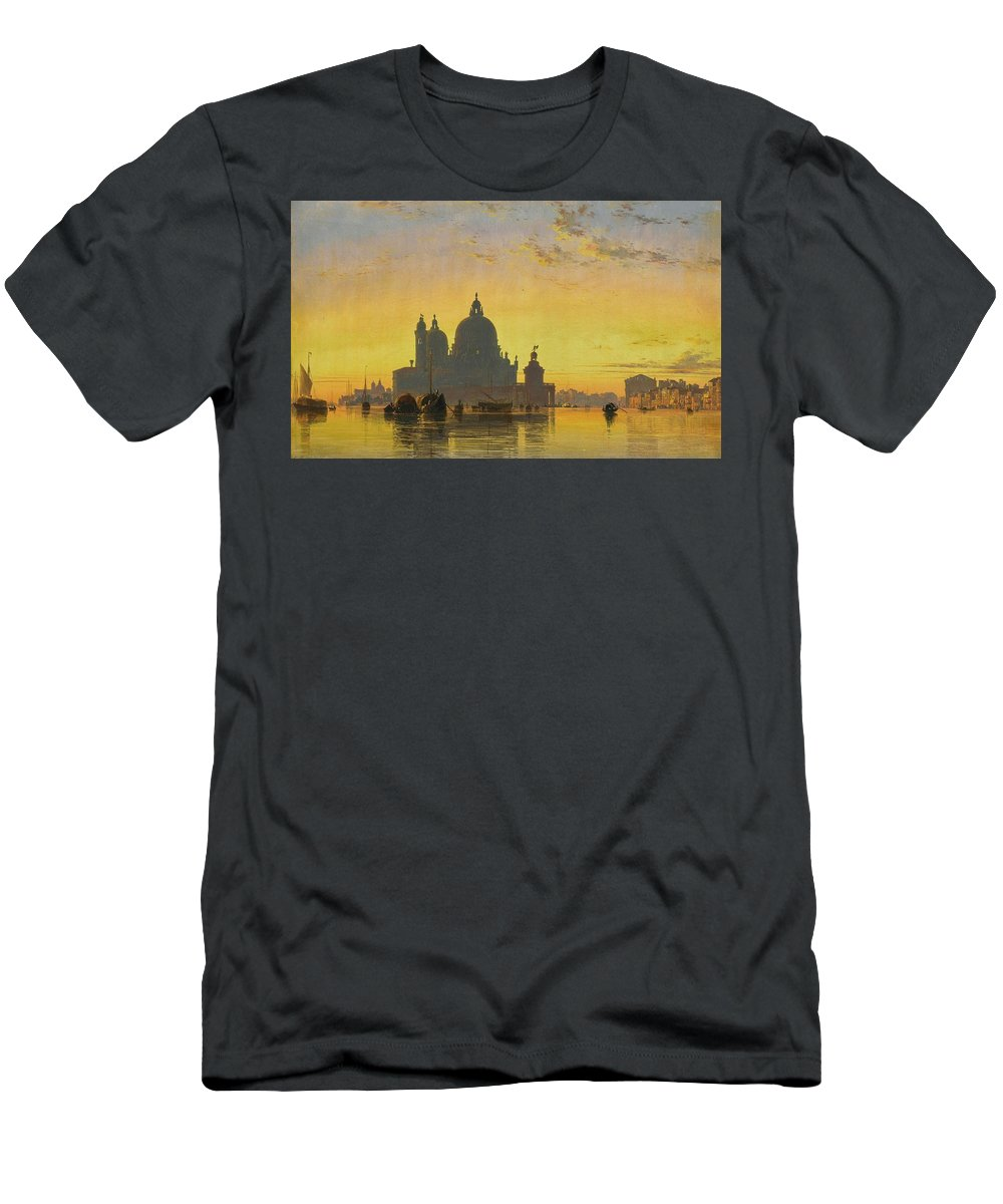 Venice. Sunset Behind The Church Of Santa Maria Della Salute By Edward William Cooke Men's T-Shirt (Athletic Fit) featuring the painting Sunset Behind The Church Of Santa Maria Della Salute by Edward William