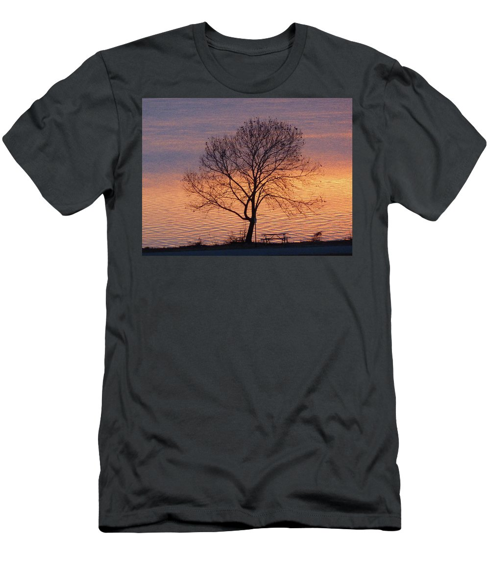 Sunset Men's T-Shirt (Athletic Fit) featuring the photograph Sunset Bench by Angela Wright