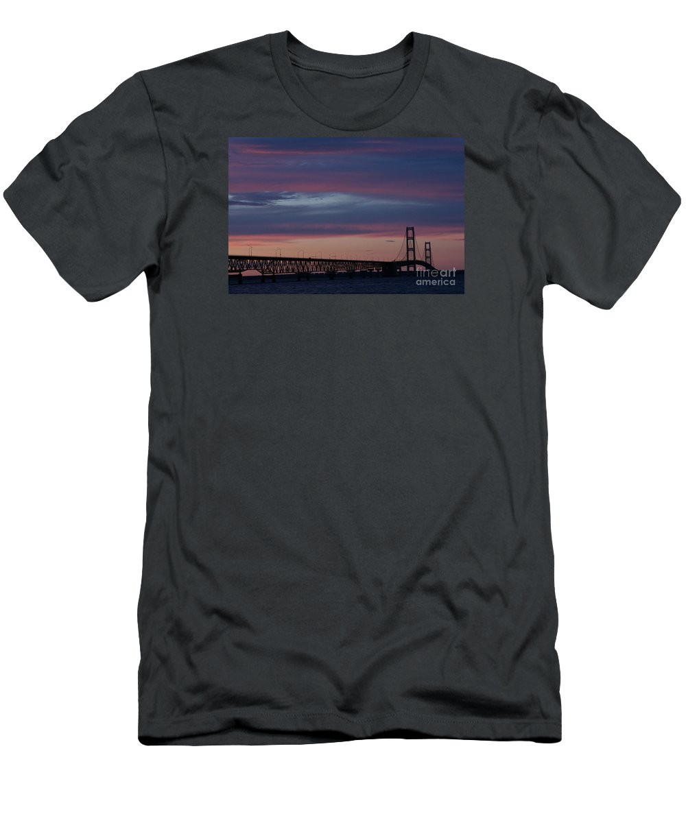 Mackinaw City Men's T-Shirt (Athletic Fit) featuring the photograph Sunset Bridge by Linda Shafer