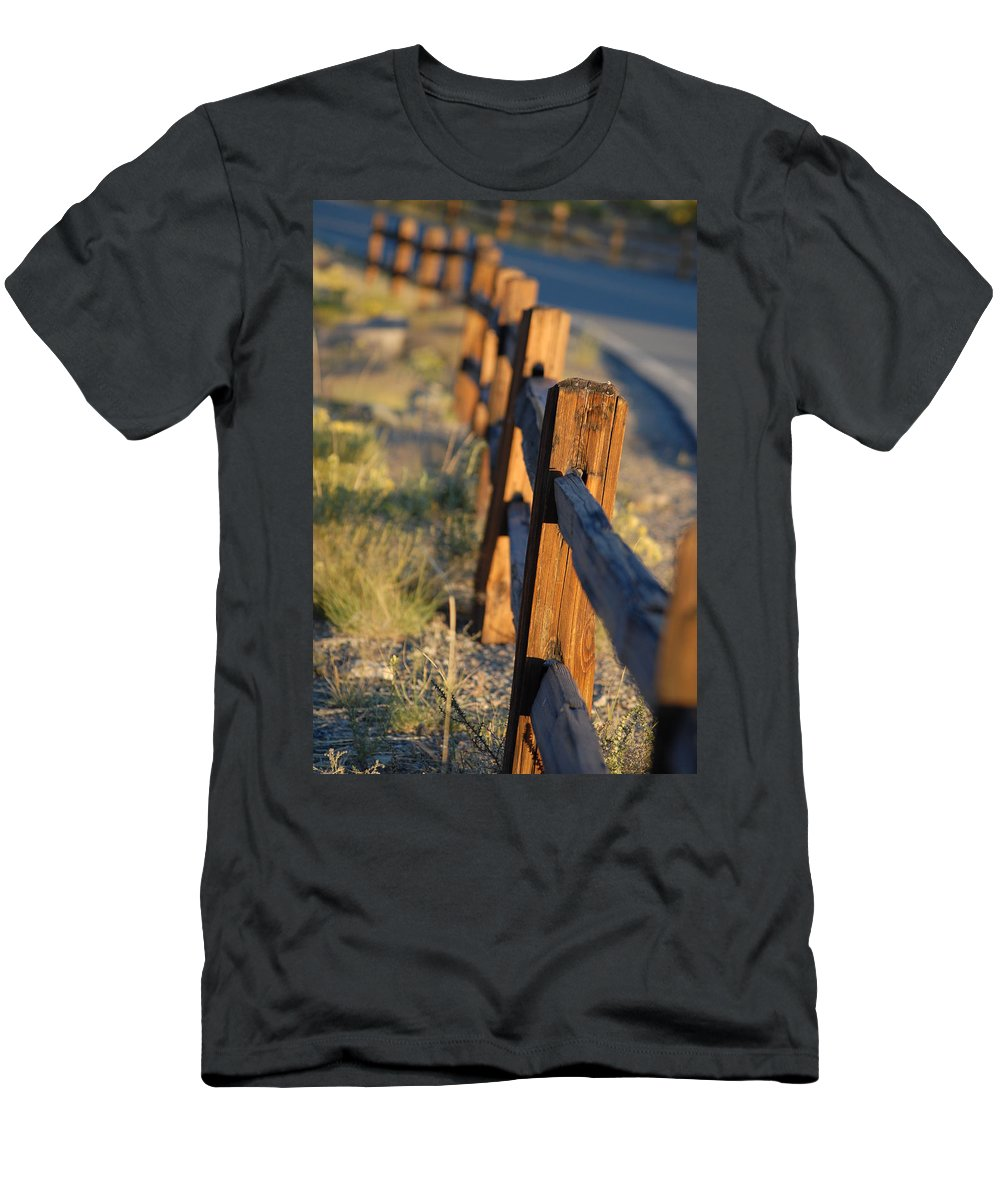Fence Men's T-Shirt (Athletic Fit) featuring the photograph Sunset Fence by Jessica Michaels