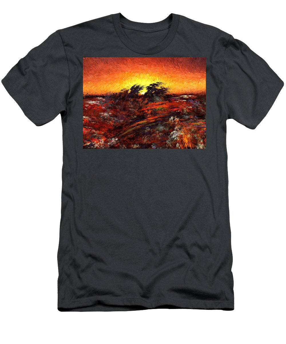 Abstract Digital Painting Men's T-Shirt (Athletic Fit) featuring the digital art Sunset In Paradise by David Lane