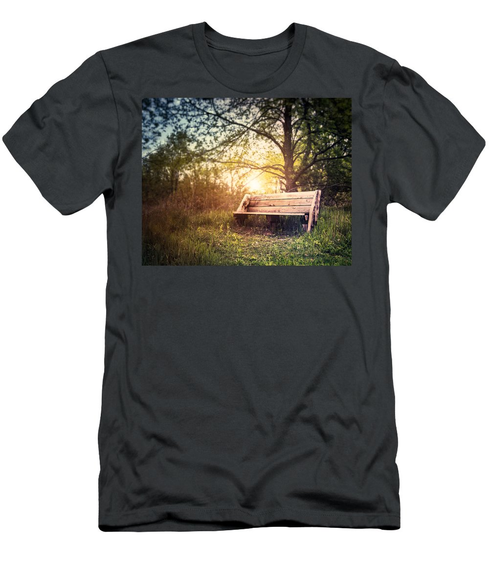 Landscape Men's T-Shirt (Athletic Fit) featuring the photograph Sunset On A Wooden Bench by Scott Norris
