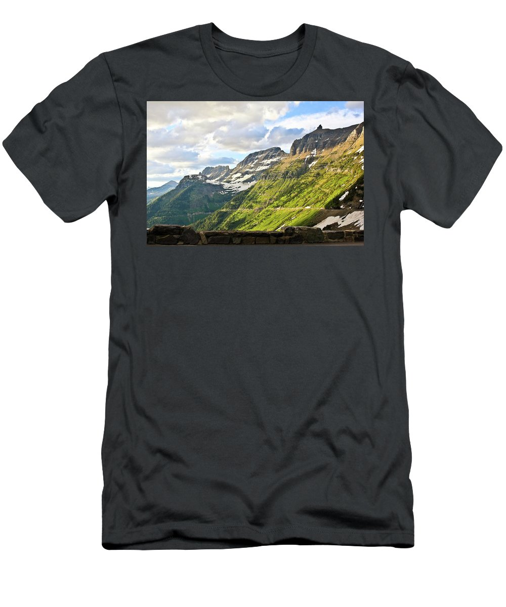 Going To The Sun Road Men's T-Shirt (Athletic Fit) featuring the photograph Sunset On Going To The Sun Road by Rebecca Wineka