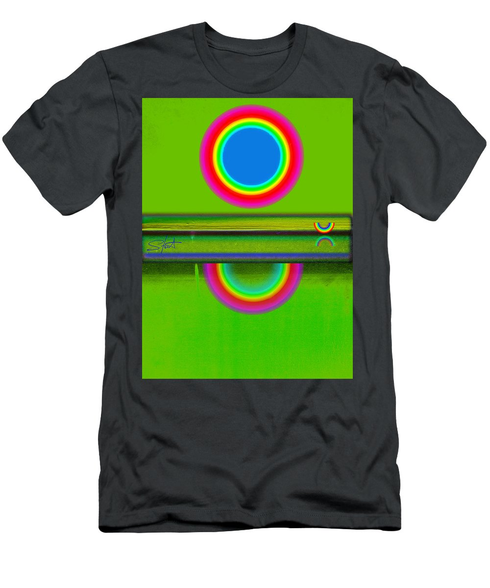 Reflections Men's T-Shirt (Athletic Fit) featuring the painting Sunset On Green by Charles Stuart