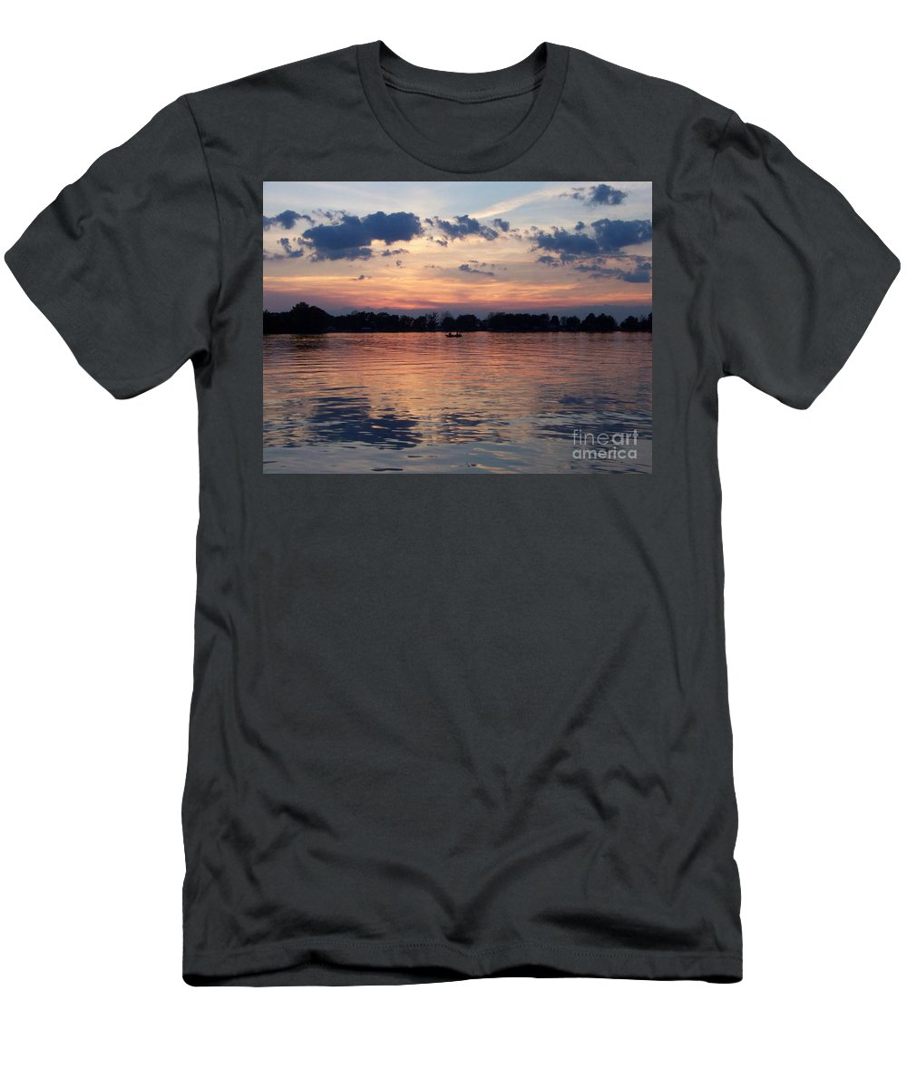 Lake Men's T-Shirt (Athletic Fit) featuring the photograph Sunset On Lake Mattoon by Kathy McClure