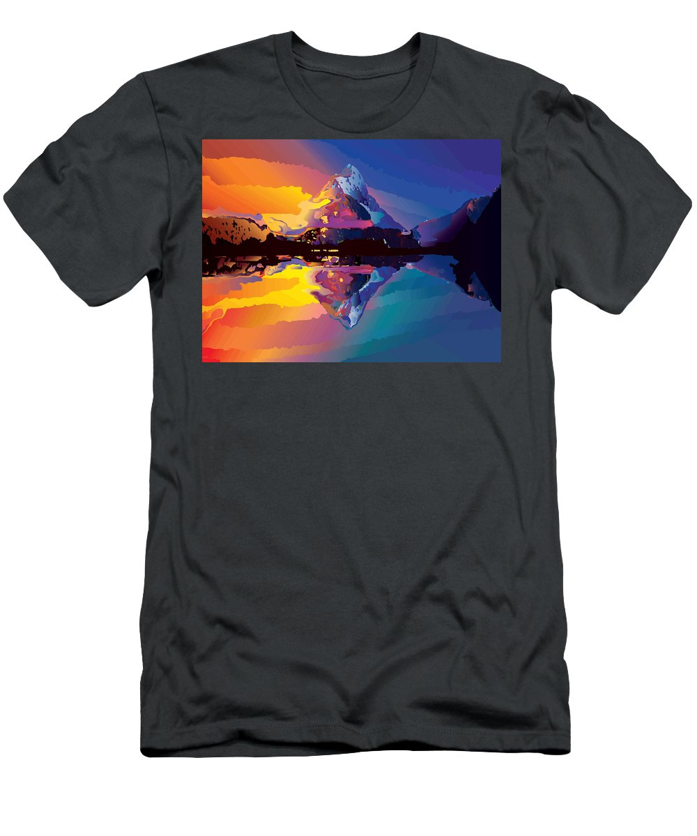 Vector Men's T-Shirt (Athletic Fit) featuring the digital art Sunset On The Mountains by Andrei Jemets