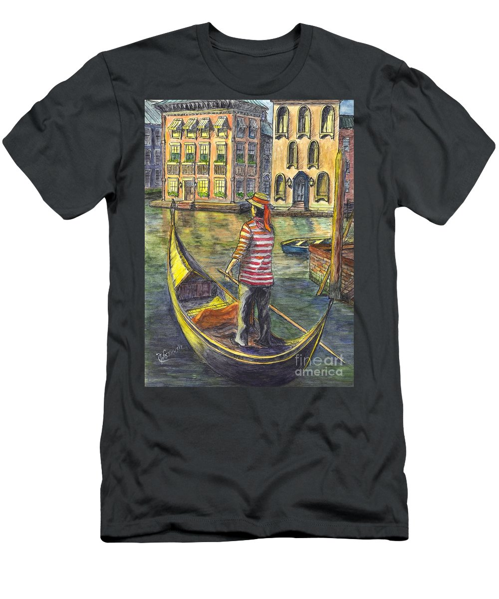 Gondolier Men's T-Shirt (Athletic Fit) featuring the painting Sunset On Venice - The Gondolier by Carol Wisniewski