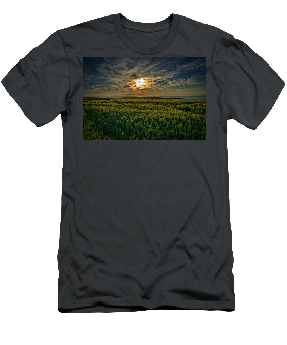 Sunset Men's T-Shirt (Athletic Fit) featuring the photograph Sunset Over North Pas De Calais In France by Jeremy Lavender Photography