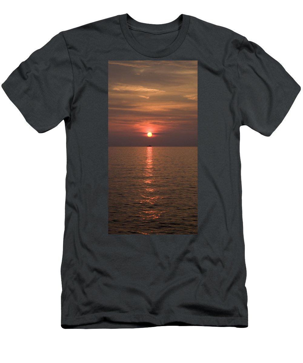 Sea Men's T-Shirt (Athletic Fit) featuring the photograph Sunset Over Pula by Ian Middleton